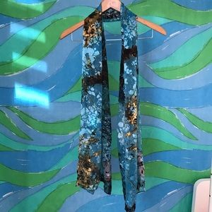 extra long blue gold burnout print silk scarf